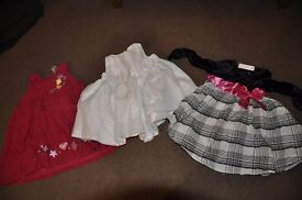 baby-girl 3 dresses, military skirt, trousers & winter coat, jacket, snowsuit - 9-12 months