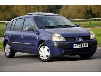 2003 Renault Clio 1.2 16v Expression 5dr FREE WARRANTY+BRAND NEW CLUTCH FITTED+1 OWNER FROM NEW