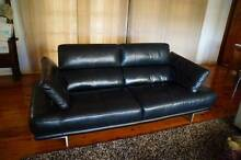 100% Leather Stylish Modern Black 3 Seater Lounge East Kurrajong Hawkesbury Area Preview