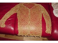 SIZE 10/12 GOLD BEADED CARDIGAN VERY VINTAGE LOOKING CARDIGAN