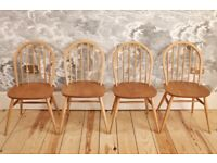 Set of 4 Vintage Retro 60's Ercol Windsor Chairs - early model 370