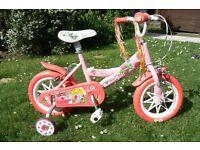 "Kids Girls Girlie Bike 11"" with stabilisers"