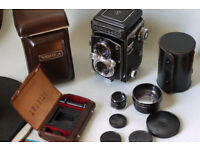 yashica 635 medium format tlr film camera 35mm kit telephoto lens