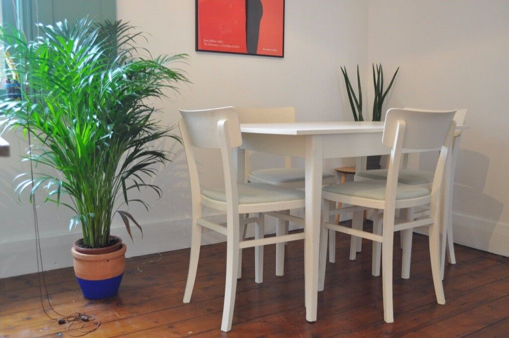Dining Table And Four Chairs White With Pastel Mint Green Seat Covers In Hove East Sus Gumtree