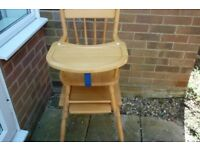 Wooden Two Piece High Chair