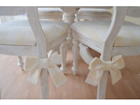 !!! GREAT DEAL !!! UNIQUE & BEAUTIFUL !!! French Antique Shabby Chic Dining Table & Four Chairs !!!
