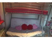 Bunk bed frame with futon