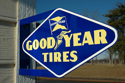 Old Style Goodyear Tire   Rubber Wing Foot Die Cut Steel Flange Sign Made In Usa