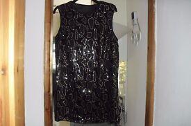 SIZE 22/24 NEW BLACK SLEEVELESS SEQUIN TUNIC DRESS NEVER BEEN WORN