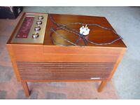 FERGUSON MINI RADIOGRAM.RADIO/RECORD DECK IN WOOD CABINET FREE STANDING OR TABLETOP WORKING ORDER.