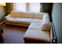 Italian ivory leather corner sofa, reasonable condition. £150 ono. Can arrange delivery.