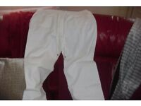 BRAND NEW SIZE 16 PAIR WHITE LINEN TROUSERS SIDE + BACK POCKETS