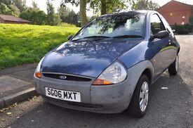 Blue Ford KA, 1.3 litre petrol, 2006 3 door hatchback *Low mileage*