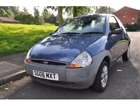 Blue Ford KA, 1.3 litre petrol, 2006 3 door hatchback *Low mileage*