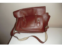 VINTAGE STYLE CLASSIC LEATHER CHESTNUT SATCHEL BAG