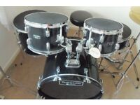 Drum Kit beginners Mapex Tornado Black hardly used