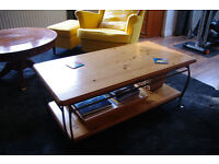wood top 2 level metal frame coffee table