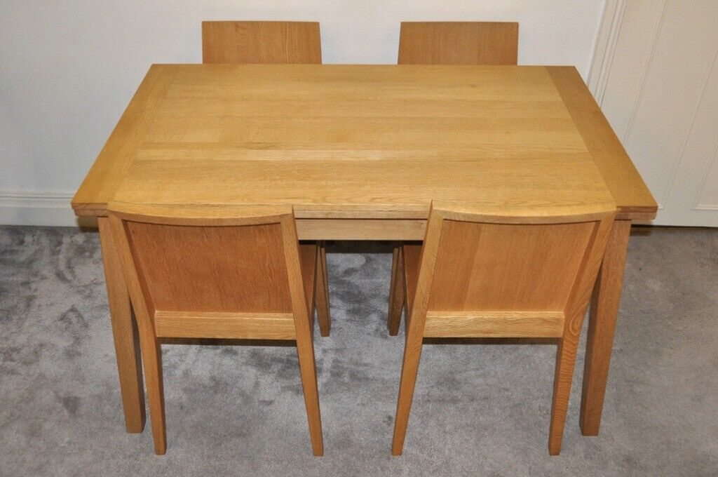 Habitat Oak Extending Ruskin Dining Table And 4 Chairs By Nick