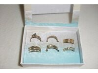 NEW SET OF 6 TOE GOLD PLATED RINGS IN GIFT BOX ALL DIFFERENT DESIGNS