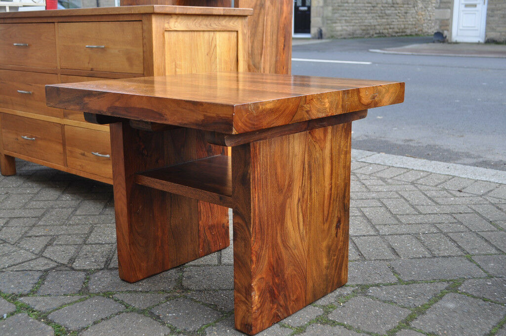 Jali Sheesham Solid Wood Coffee Table Lamp Table In