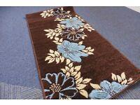 Rapollo rug 75 x 150 Chocolate/ teal and cream