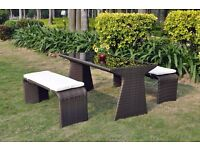 CLEARANCE SALE - BRAND NEW - Outdoor High Quality All Weather Brown Rattan Garden Bench Set