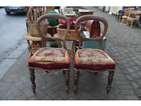 pair of edwardian balloon back chairs horse hair stuffed.