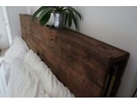 Handmade wooden headboard with built-in shelving king size