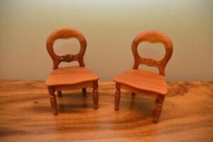 Doll Furniture - 2 x Doll Size Carved Dining Chairs - works well with American doll
