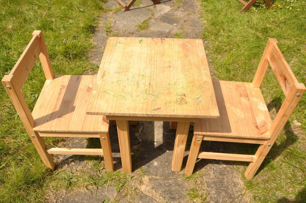 childrens wooden table and two chairs from scandinavia range in