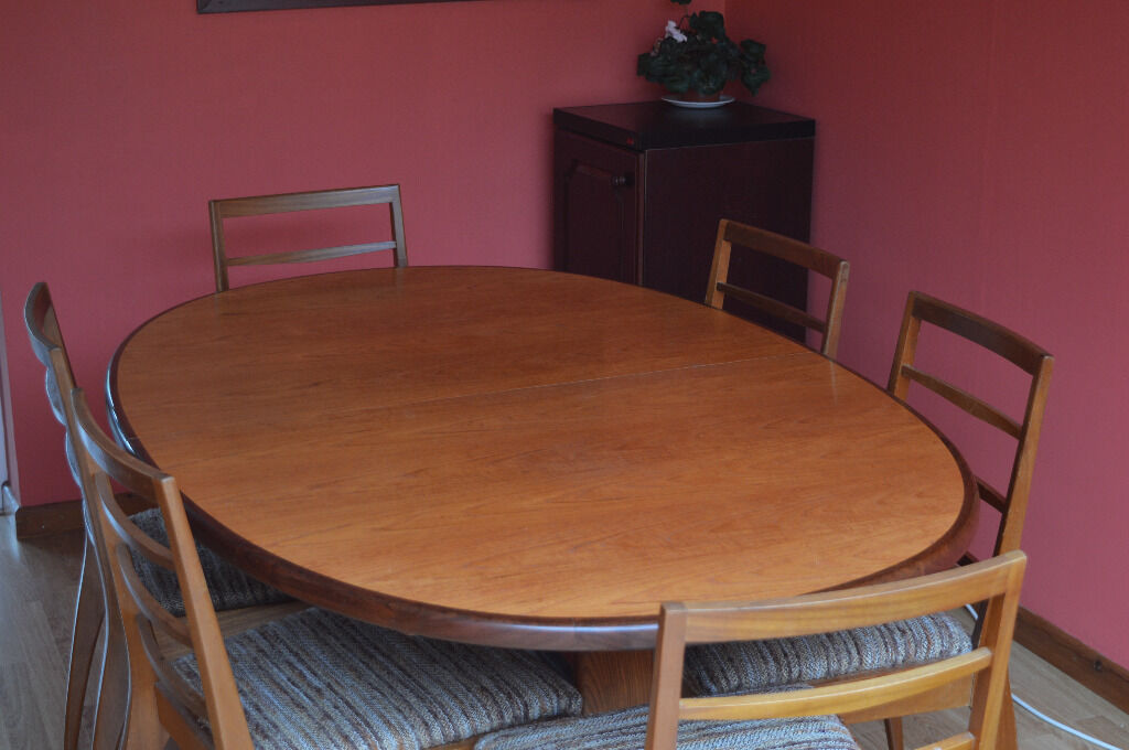 G Plan Oval Teak Extendable Pedestal Dining Table And 6 Chairs In Cambridg