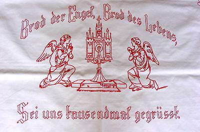 RAR: Antikes Altartuch Engel, Monstranz, Spruch - Monogramm, Hohlsaum, Stickerei