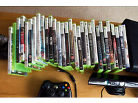 XBOX360 with Kinect, wireless controler and games