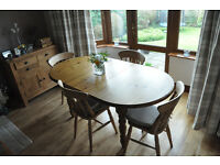 Pine dining table and 4 dining chairs for sale