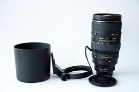 Nikon 80-400mm lens, f4.5-5.6 D VR AF, telephoto (boxed)