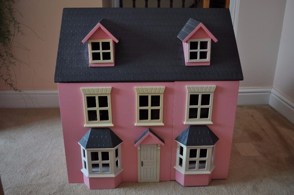 Acorn Toys Pink Traditional Georgian Style Wooden 3 Y Dolls House With Furniture Doll Family