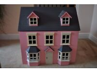 Acorn Toys Pink Traditional Georgian Style Wooden 3 Storey Dolls House with Furniture & Doll Family