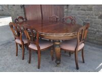 barker & stonehouse extending wind out mahogany dining table and six chairs