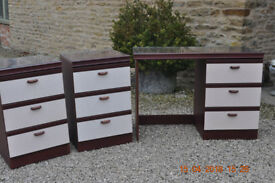 Dressing table and two bedside tables and mirror.