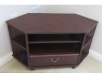 Corner TV unit - Mahoganny colour, with drawer and shelves