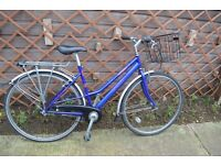 """Ladies Dawes Diploma Classic bike. 19"""" (48cm) frame. Three speed. Front basket. Fully serviced."""