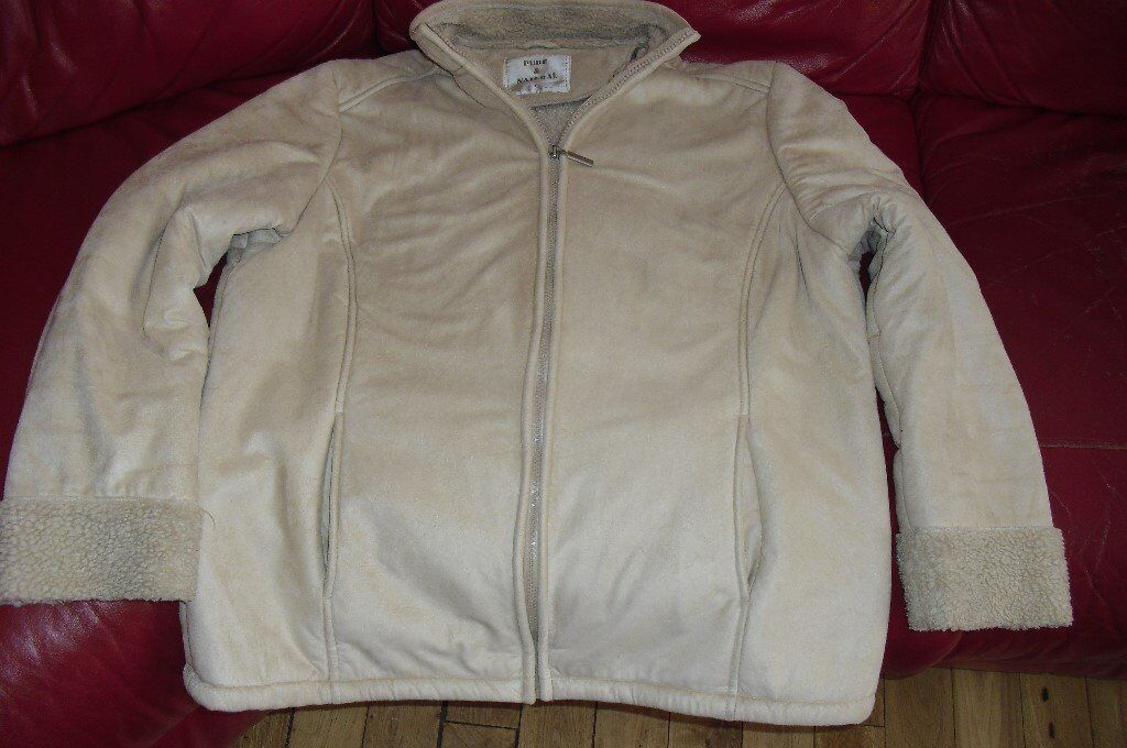 SIZE 14 LADIES CREAM SOFT SUEDE FEEL FLEECE LINING JACKET IN GOOD CONDITION