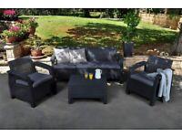 Keter Corfu 2, 4 or 5 Seat Lounge Set Plastic Rattan Garden Furniture