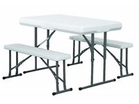 PICNIC FOLDING TABLE & 2 BENCH SET FOR GARDEN CAMPING PATIO*** NEXT WORKING DAY DELIVERY AVAILABLE
