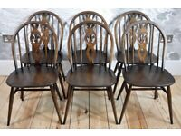 Set of 6 Vintage Retro 60's Ercol Windsor Fleur de Lys Chairs in Old Colonial