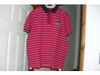 SIZE LARGE RED/WHITE STRIPE POLO SHORT SLEEVE TOP