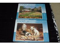 PACK OF 2 1000 PIECE JIGSAW PUZZLES KITTENS AT PLAY + GARDEN SCENE