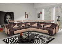 Fabulous car theme brown & beige leather large corner sofa, delivery available