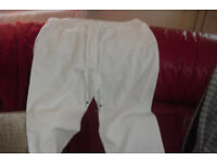 SIZE 16 PAIR WHITE LINEN TROUSERS WITHSIDE + BACK POCKETS