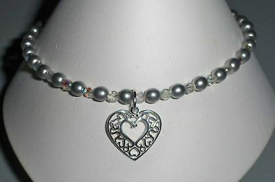 Sterling Silver Heart Anklet Ankle Bracelet - Stretch